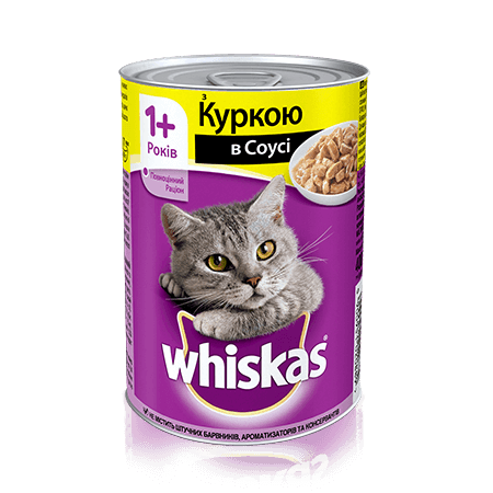 WHISKAS® с курицей в соусе для взрослых кошек, 400 г