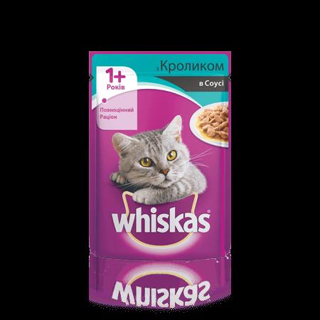 WHISKAS® с кроликом в соусе для взрослых кошек, 100 г