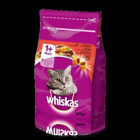 WHISKAS®  Вкусные подушечки с говядиной для взрослых кошек, 950 г