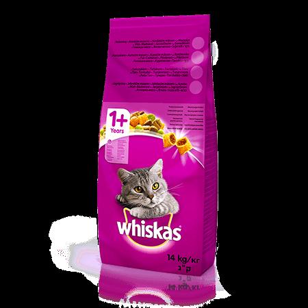 WHISKAS® Вкусные подушечки с курицей для взрослых кошек, 14 кг