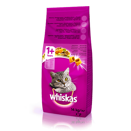 WHISKAS®  Вкусные подушечки с ягненком для взрослых кошек, 14 кг