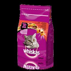 WHISKAS®  Вкусные подушечки с говядиной для взрослых кошек, 300 г