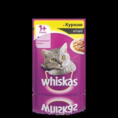 WHISKAS® с курицей в соусе для взрослых кошек, 100 г