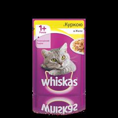 WHISKAS® с курицей в желе для взрослых кошек, 100 г
