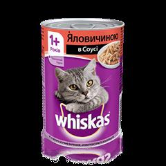 WHISKAS® с говядиной в соусе для взрослых кошек, 400 г