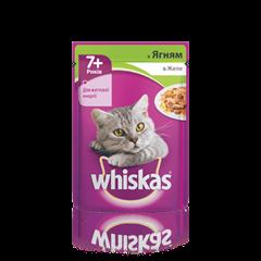 WHISKAS® с ягненком в желе для кошек старше 7 лет, 100 г