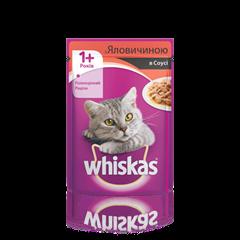 WHISKAS® c говядиной в соусе для взрослых кошек, 100 г
