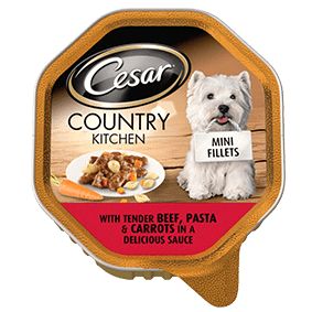 CESAR Country Kitchen Dog Tray with Beef and Pasta in Gravy 150g