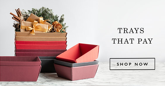Card gift trays that pay