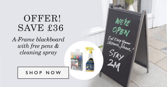 Offer Save £36. A-frame with free pens and cleaning spray