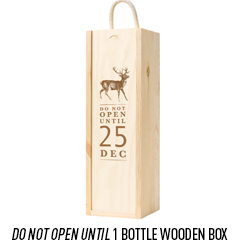 1 Bottle Wooden Box With 'Do Not Open Until' Lid