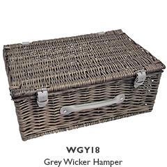 Grey Rustic Wicker Hamper - Medium
