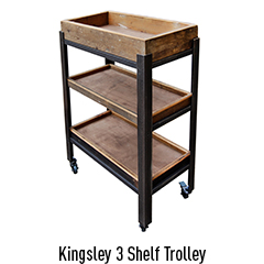 Kingsley Minor - 3 Shelf Trolley Unit with Wooden Trays