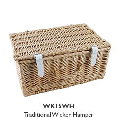 """16"""" Wicker Hampers with White Straps"""