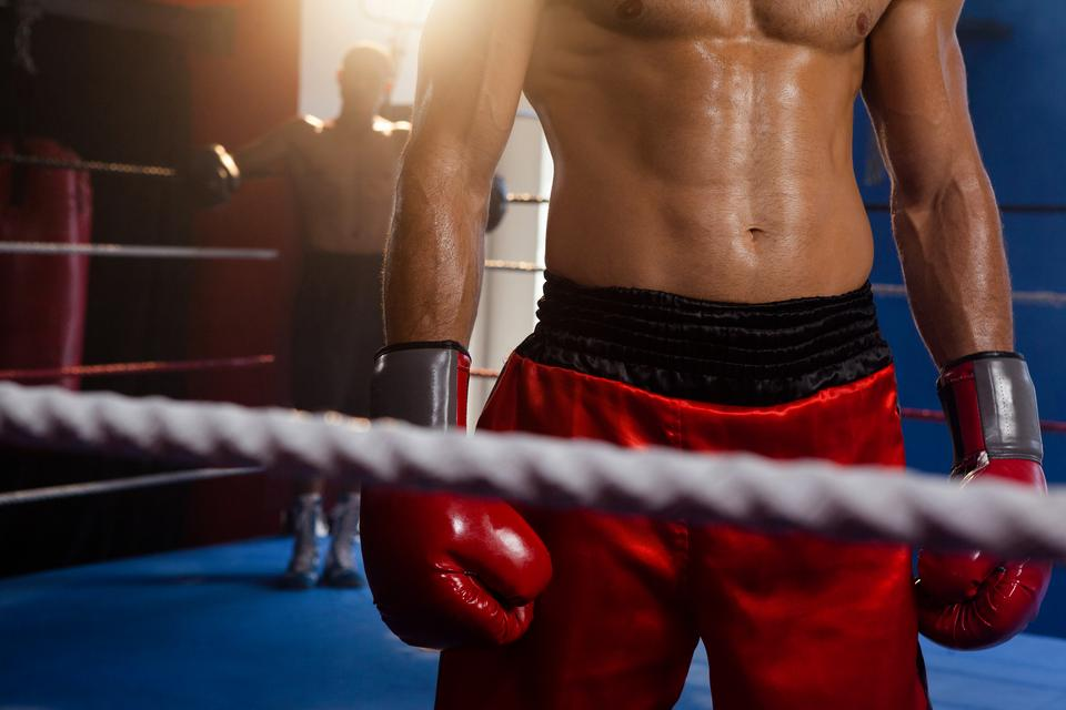 """Boxers standing in boxing ring"" stock image"