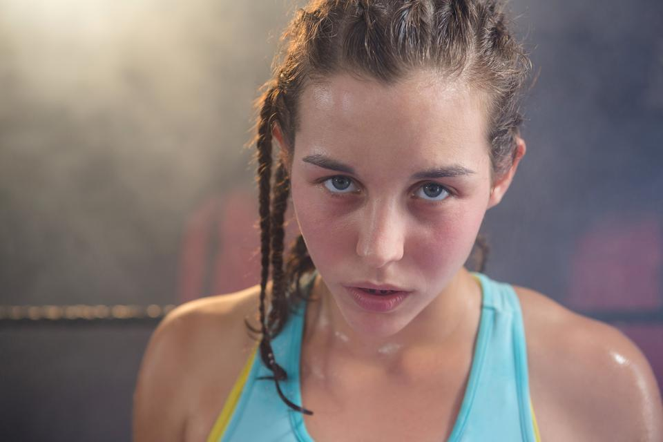 """""""Close-up of young female boxer"""" stock image"""