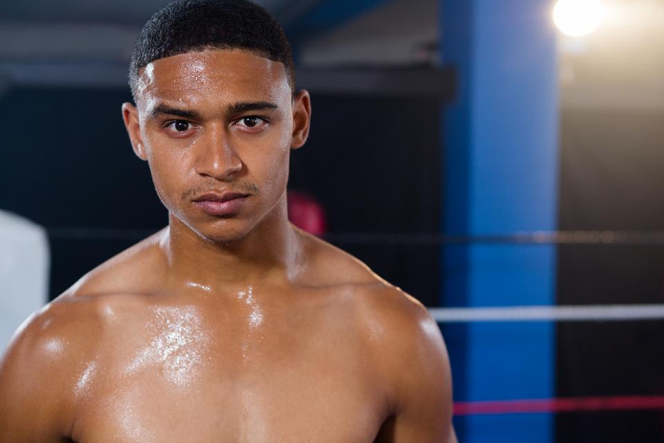 """""""Portrait of confident young male boxer"""" stock image"""