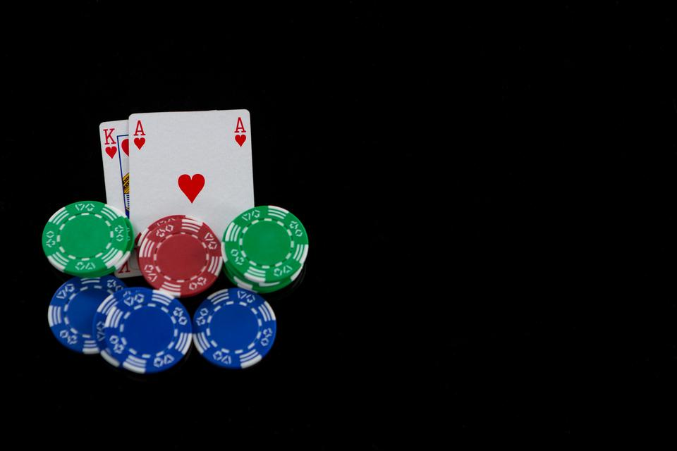 """Close-up of cards and chips during blackjack game"" stock image"