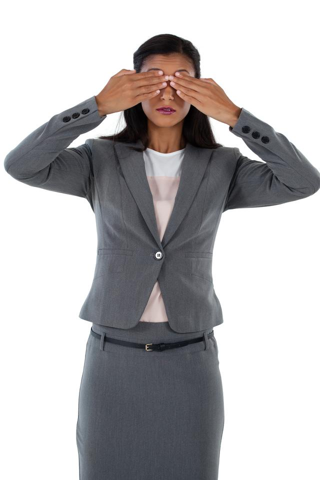 """""""Businesswoman covering her eyes"""" stock image"""