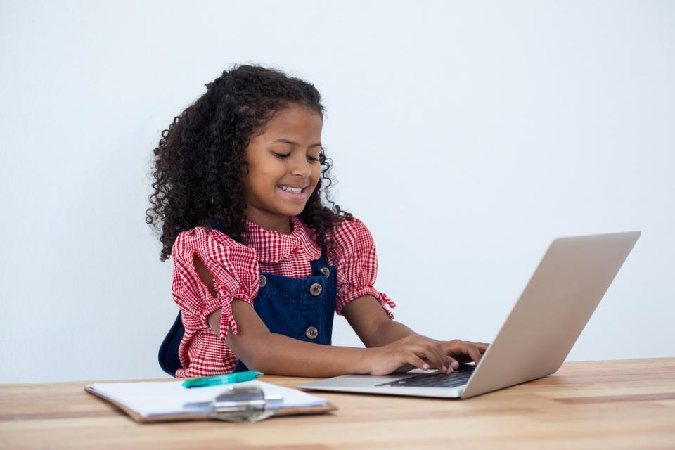 """Smiling businesswoman using laptop computer at desk"" stock image"