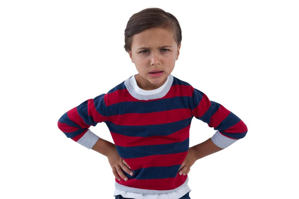 """Cute boy standing with hand on hip"" stock image"