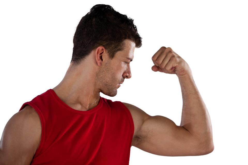 """""""Close up of male athlete flexing muscles"""" stock image"""
