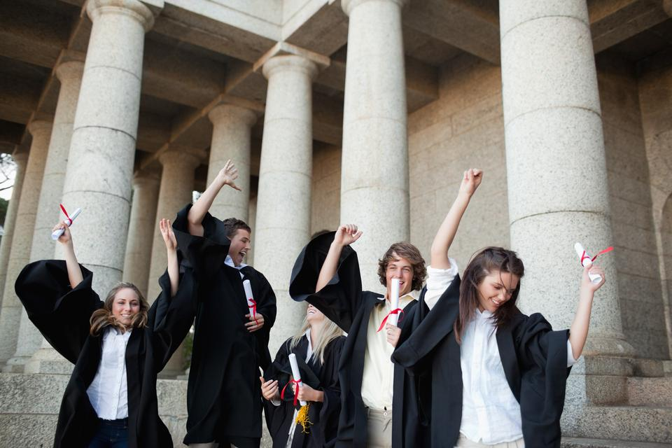 """""""Graduates dancing in togas"""" stock image"""