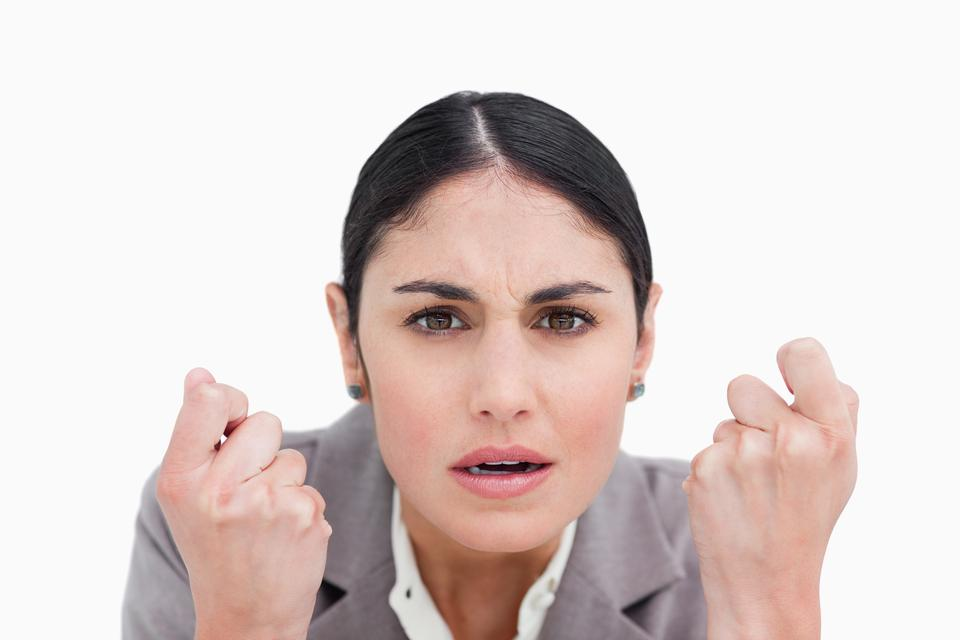 """""""Close up of disappointed looking businesswoman"""" stock image"""