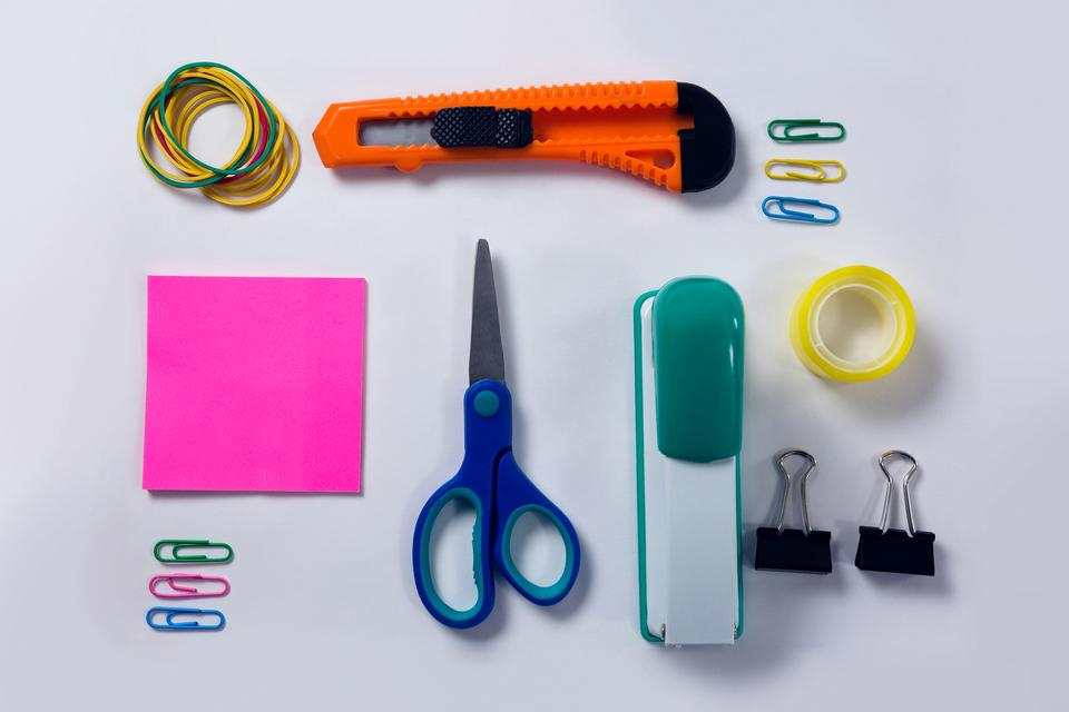 """Various stationery on white background"" stock image"