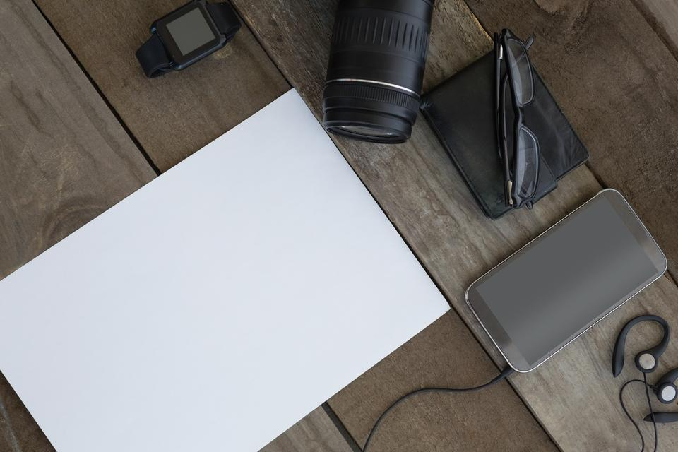 """""""Various electronic gadgets kept on table"""" stock image"""