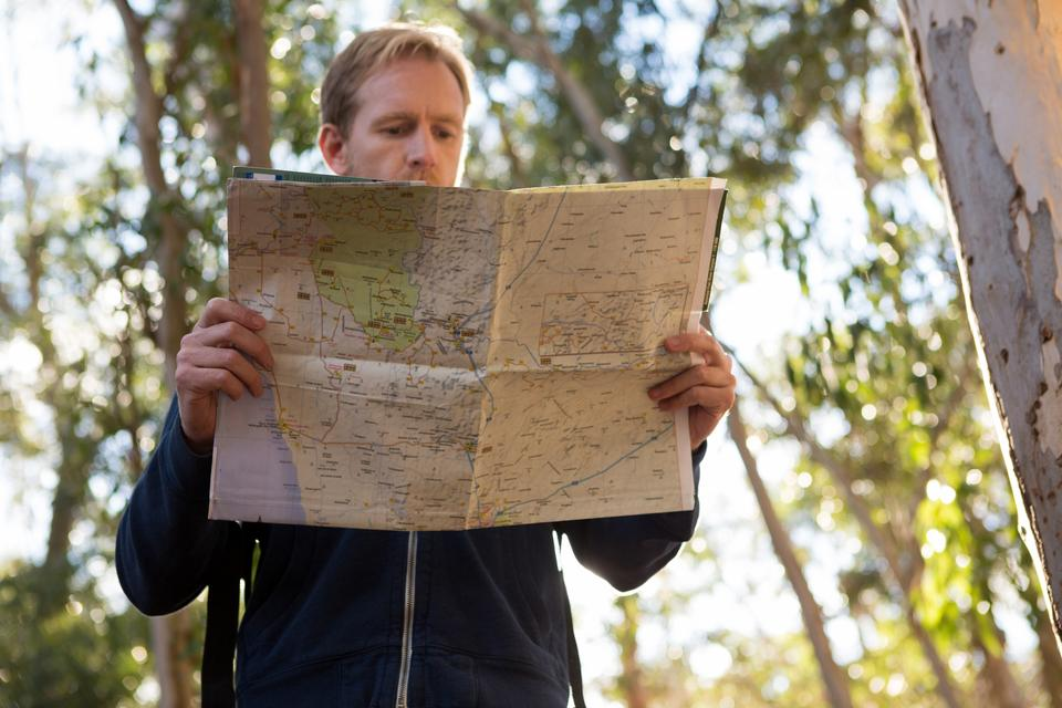 """Hiker reading a map on a sunny day in the forest"" stock image"