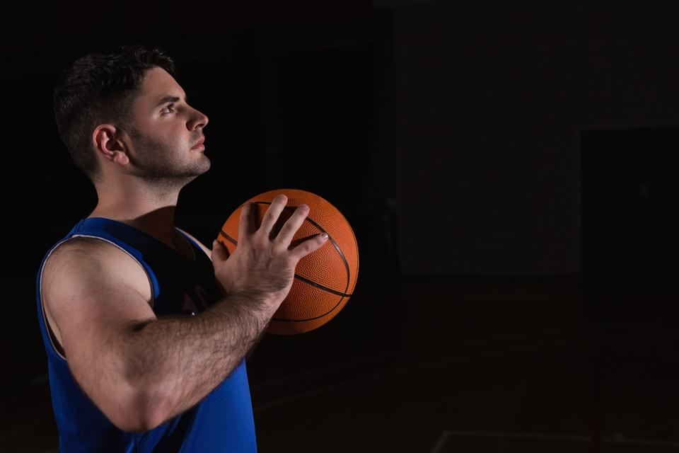 """Player ready to throw basketball"" stock image"