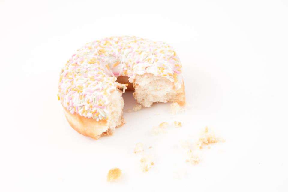 """Sugar doughnut with crumbs"" stock image"