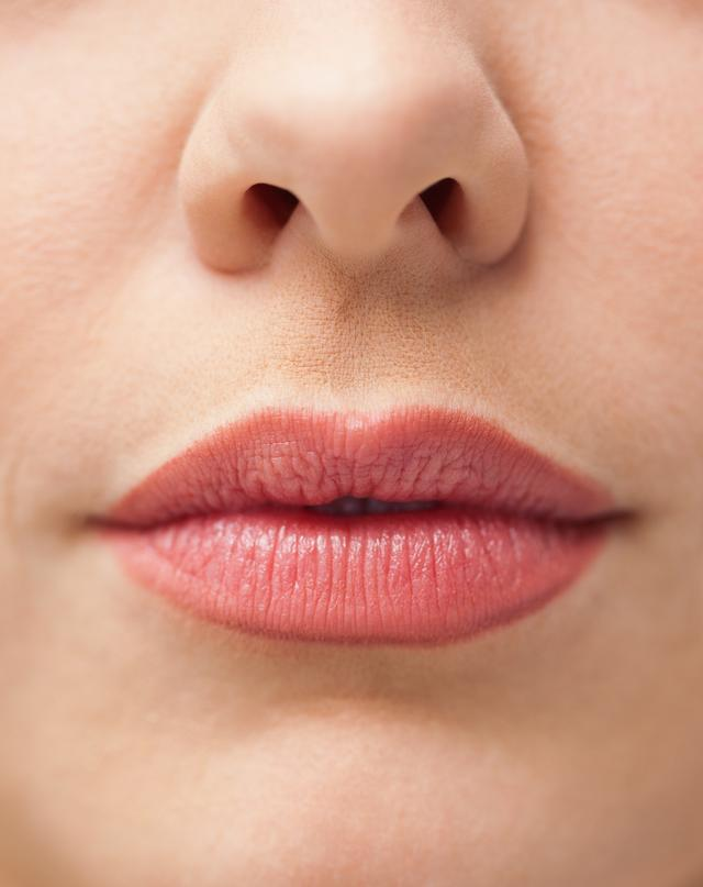 """""""Close up of lips with makeup on them"""" stock image"""