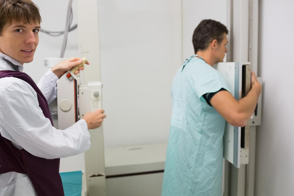 """""""Patient having a lung xray"""" stock image"""