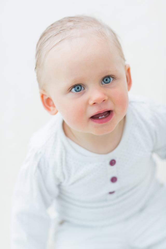 """""""High view of a blonde baby"""" stock image"""