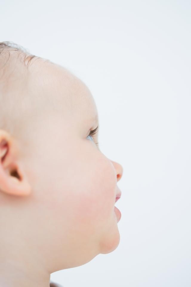 """""""Close up of side head of a baby"""" stock image"""