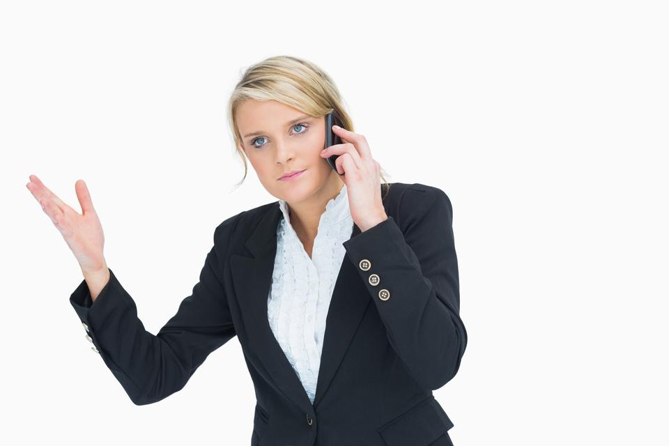 """""""Woman frustrated on phone"""" stock image"""