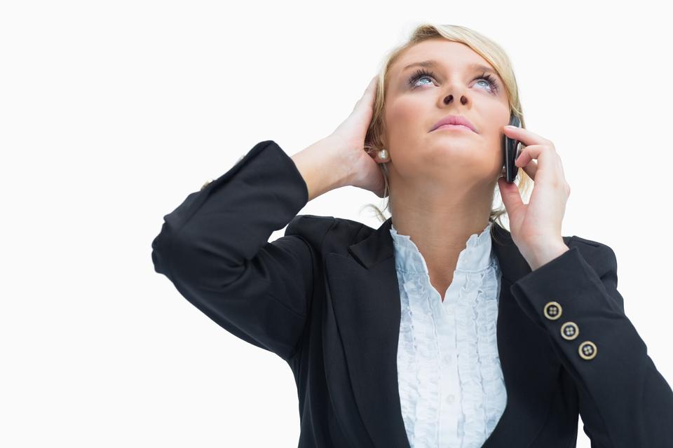 """""""Frustrated woman on phone"""" stock image"""