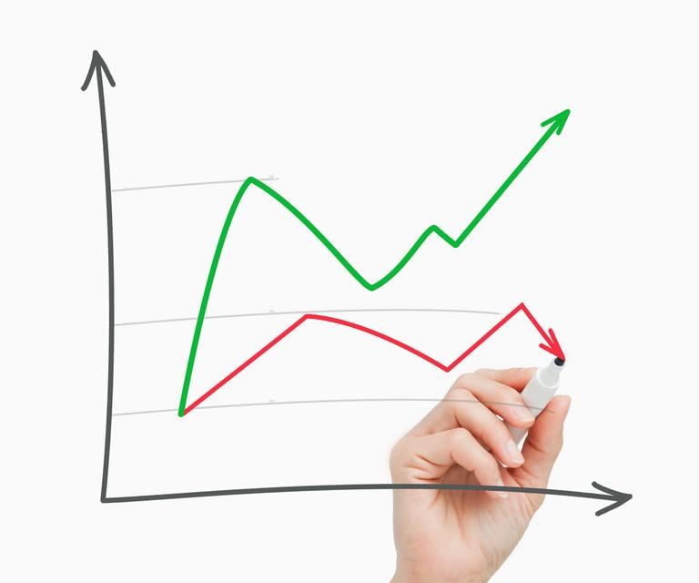 """""""Hand drawing a graph"""" stock image"""
