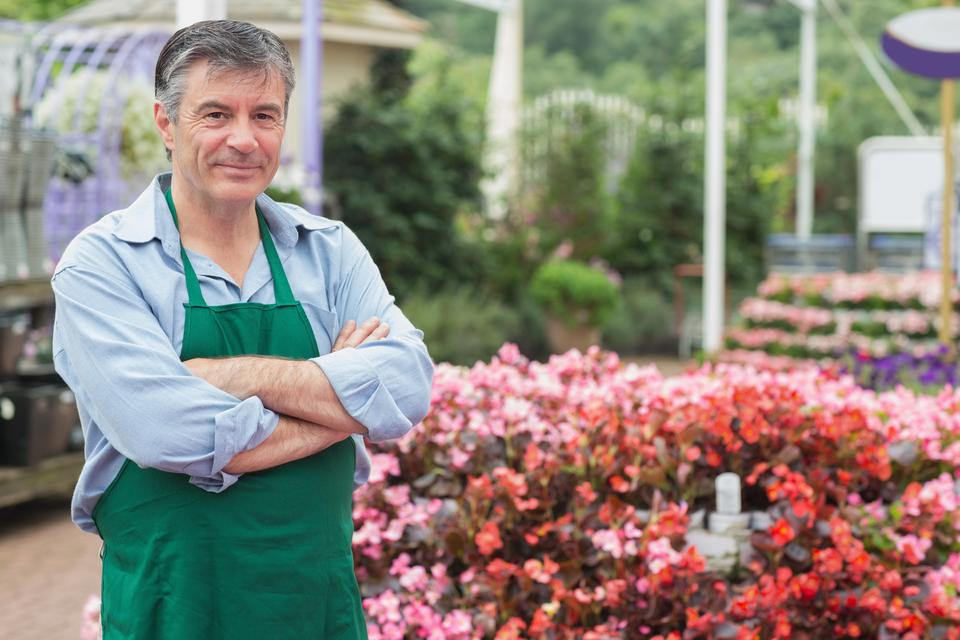 """Employee in the greenhouse"" stock image"