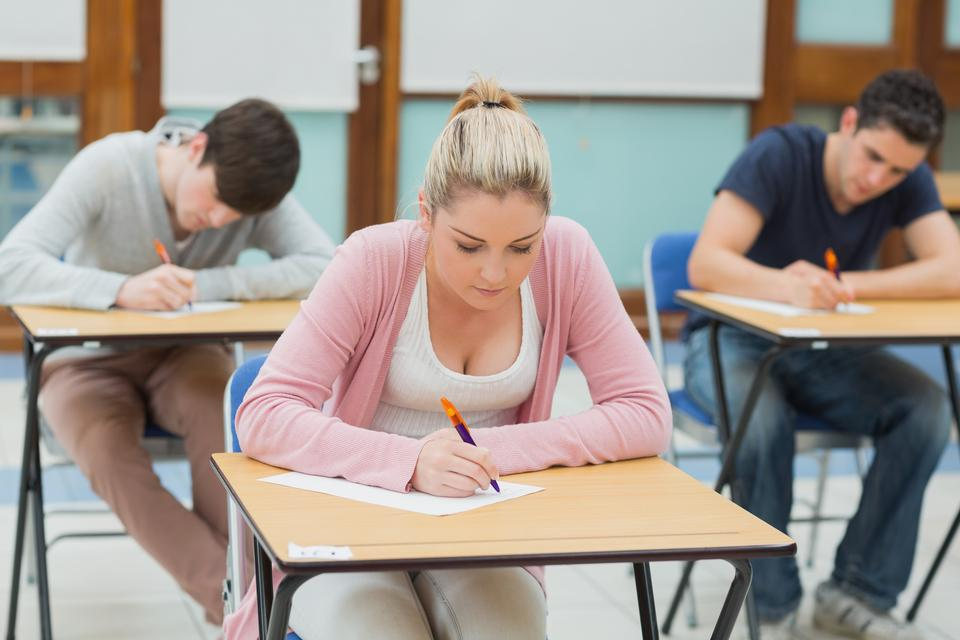 """""""Students in exam hall"""" stock image"""