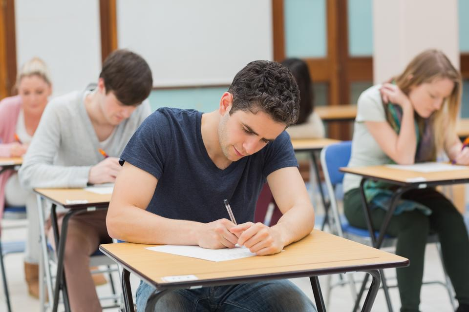 """""""Students in an exam"""" stock image"""