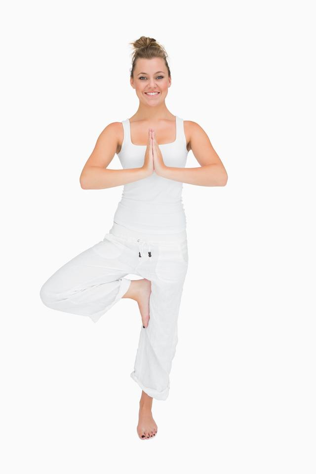 """""""Woman in standing yoga pose"""" stock image"""