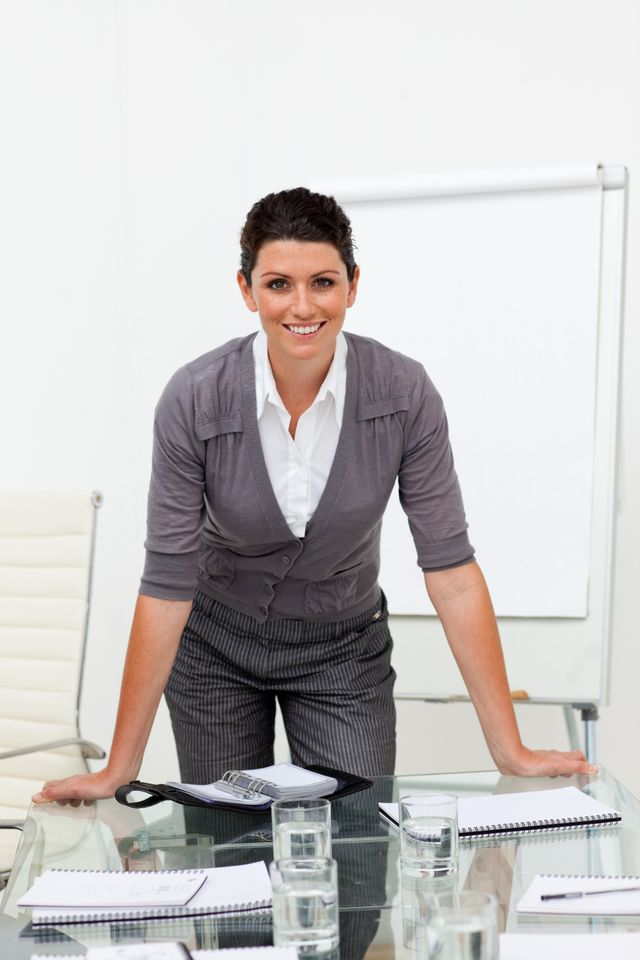 """""""Portrait of a female manager at a presentation"""" stock image"""
