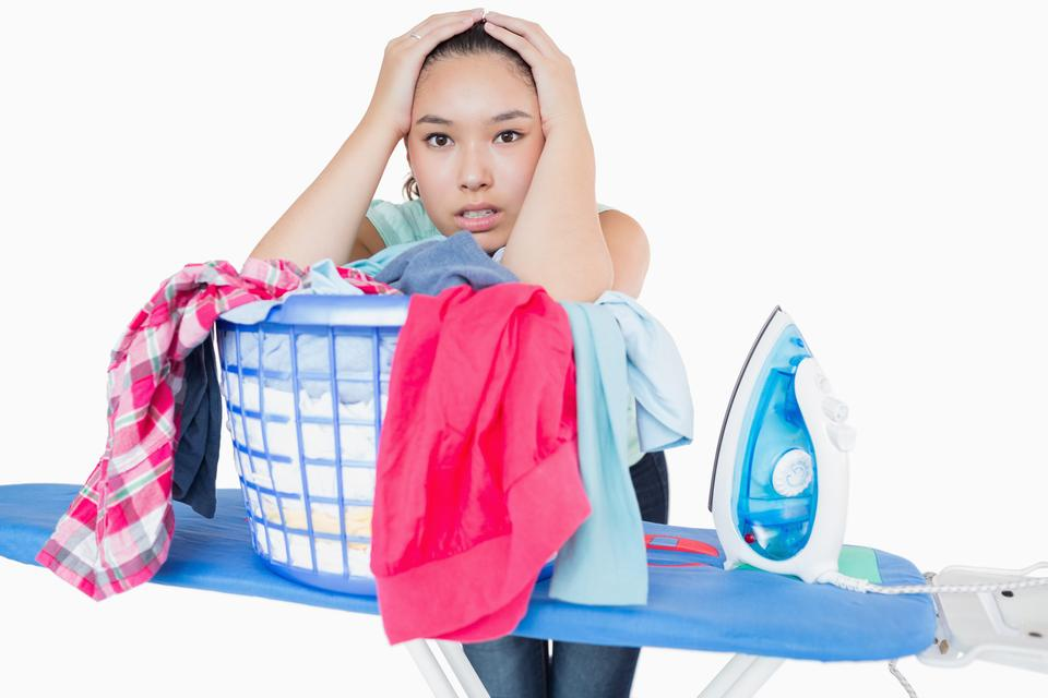 """""""Woman fed up with ironing"""" stock image"""