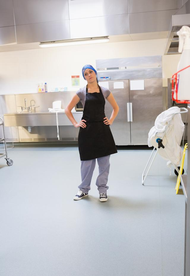 """""""Cleaning woman standing in kitchen"""" stock image"""