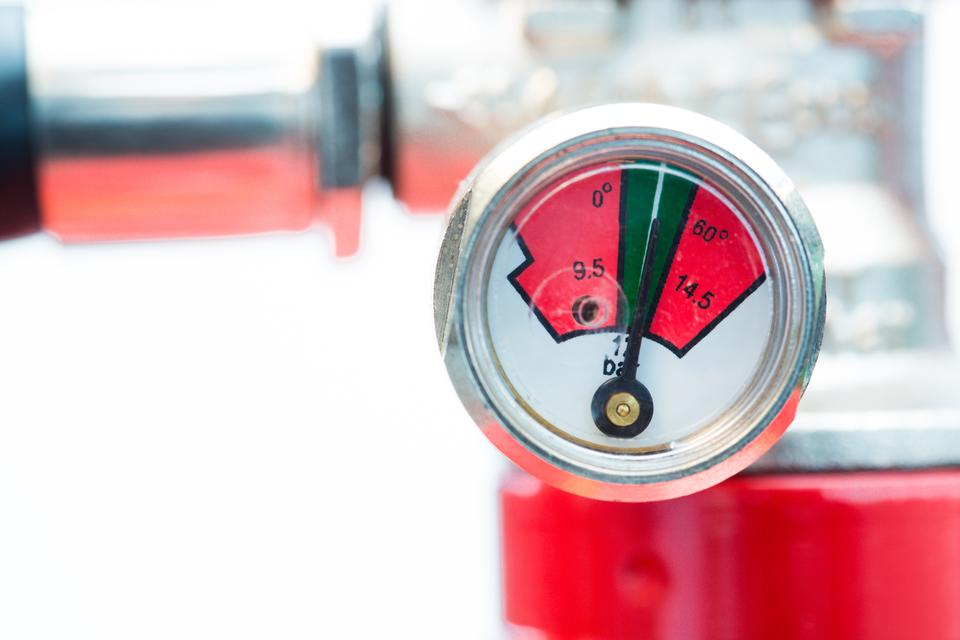 """""""Close up of gauge on fire extinguisher"""" stock image"""