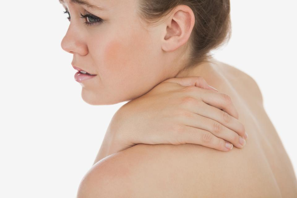 """""""Upset woman suffering from backache"""" stock image"""