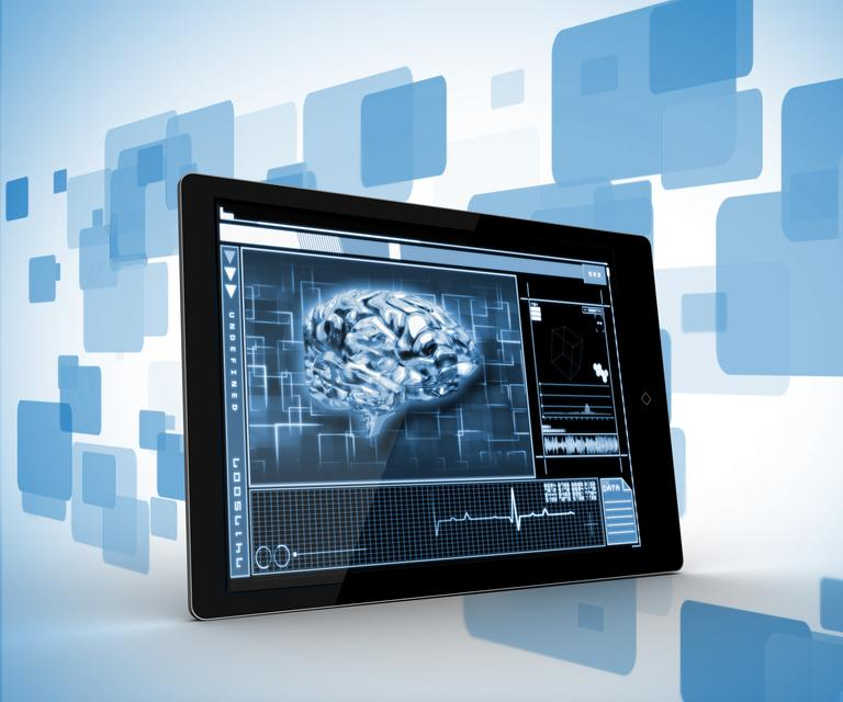 """""""Tablet on a digitally generated background"""" stock image"""